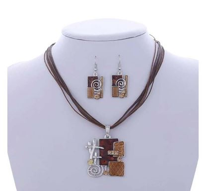 Mixed Color Square Necklace Set - N-31