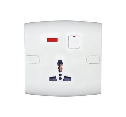 Safe Universal Socket with Switch Neon