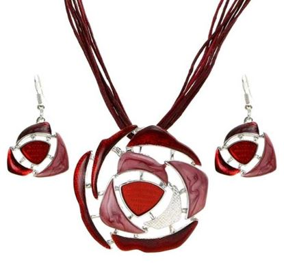 Ethnic Red Stone Necklace Set - N63