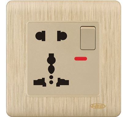 HEE Rose Gold 13A 5 Pin Multi Socket with Switch