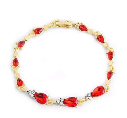 Gold Color Crystal Hollow Chain Link Red Stone Bracelet – B108