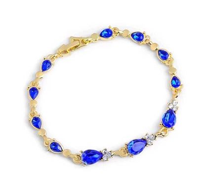 Gold Color Crystal Hollow Chain Link Blue Stone Bracelet – B109