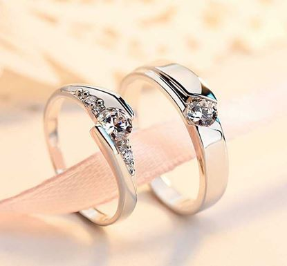 Stone Crafted Adjustable Couple Finger Ring - 01