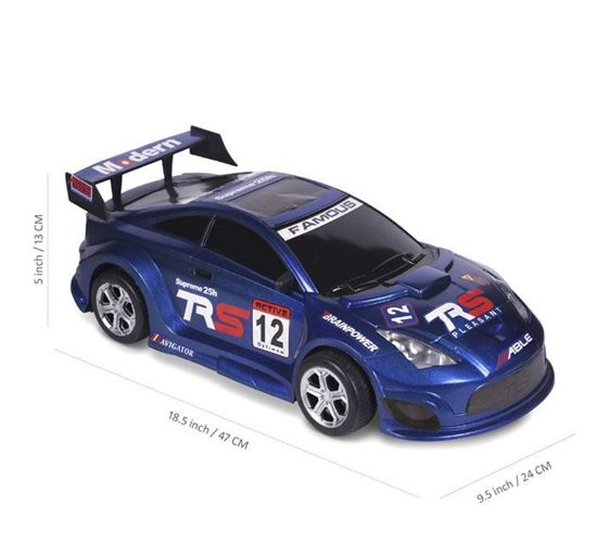 Extra Large Size Full Plastic Non Battery Friction Car Blue - 209