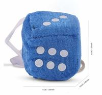 Fluffy Dice Chain Key Ring for House, Home, Car & Bike - Key Ring Dice Blue