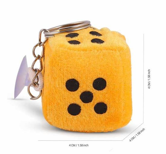 Fluffy Dice Chain Key Ring for House, Home, Car & Bike - Key Ring Dice Yellow