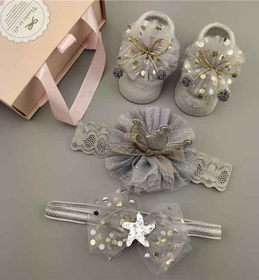 Fancy Hair Bands with Socks for Baby Girl - 21