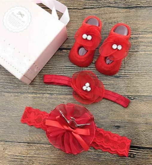 Fancy Hair Bands with Socks for Baby Girl - 29