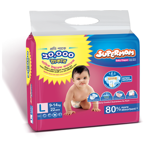 Supermom 9-14Kg Baby Diaper (Large - 22 Pieces)