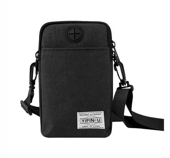 Mobile & Passport Hanging Pouch/Bag - Black