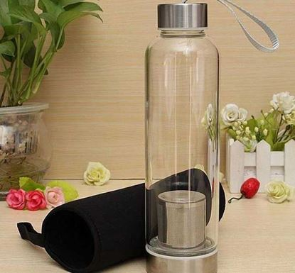 BPA Free Glass Sport Water Bottle with Tea Filter 550ml