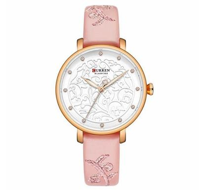 CURREN 9046 Leather Watch for Women - Pink