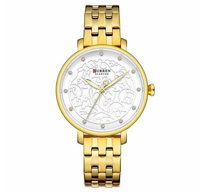 CURREN 9046 Stainless Steel Watch for Women – Gold White