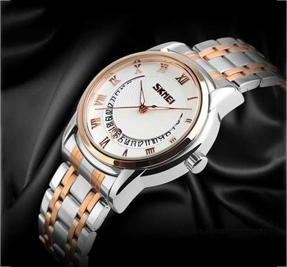 SKMEI 9122 Stainless Steel Watch for Men - Silver Rose Gold