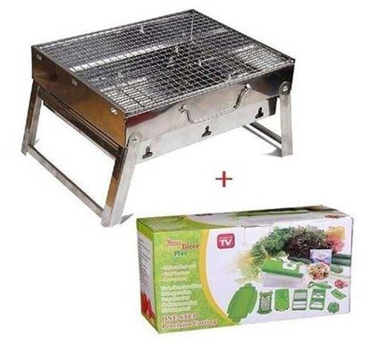 Outdoor Portable BBQ Stove & Nicer Dicer Plus - Silver