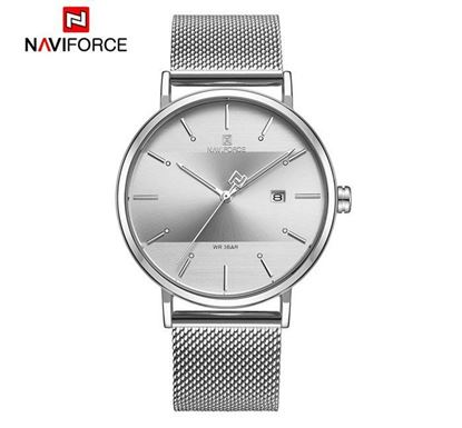 NAVIFORCE Stainless Steel Watch for Men (Silver-White) - NF3008