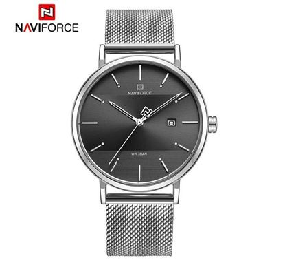 NAVIFORCE Stainless Steel Watch for Men (Silver-Black) - NF3008