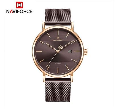 NAVIFORCE Stainless Steel Watch for Men (Rose Gold-Coffee) - NF3008