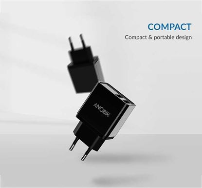 ANOBIK SmartCharge Go Dual Port 2.4A USB Charger with Cable