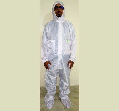 Waterproof Full Body PPE with Shoe Cover (White)