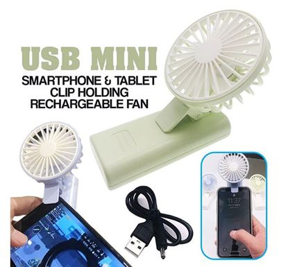 USB Mini Smartphone Tablet Clip Holding Rechargeable Fan