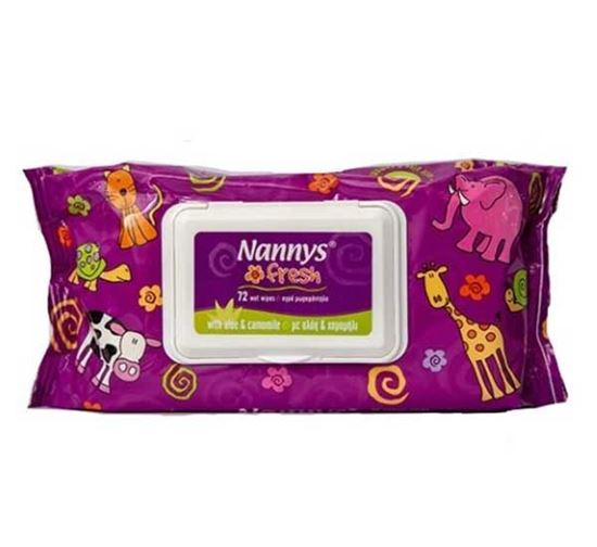 Nannys Wet Wipes with Fliptop - 72 Pieces