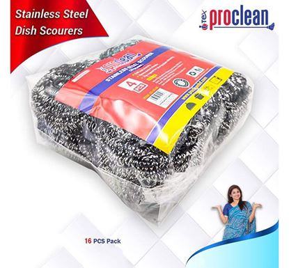 Proclean Stainless Steel Dish Scrubber 16 Pieces SS-0148-16