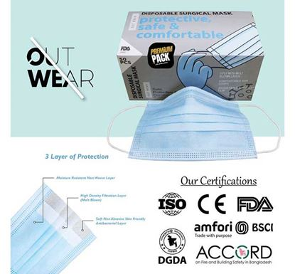 Outwear Surgical Mask with Melt Blown Filter – 50 Pieces