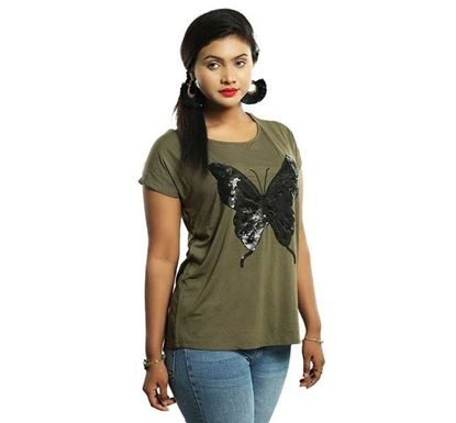 Butterfly Stone Painting T-shirt for Women DM-606