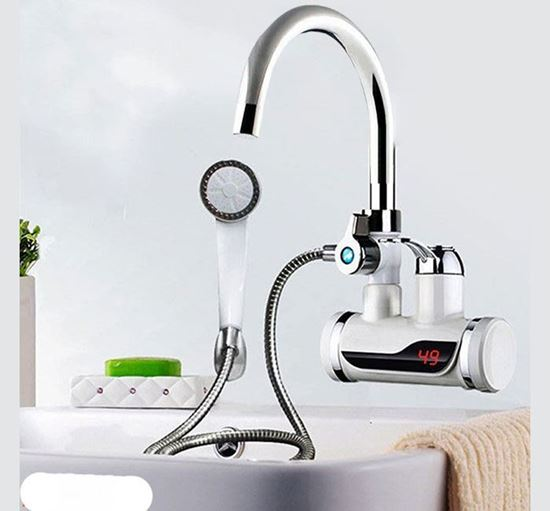 Electric Instant Hot Water Tap with Hand Shower, Digital Display Tankless Electric Faucet