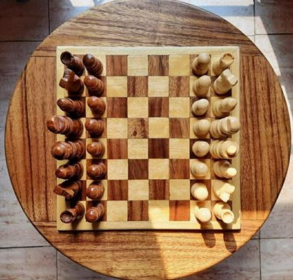 Wooden Round Chess Board - Barnali (With Chess Players)