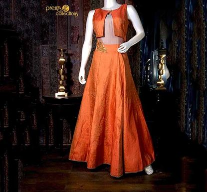 Prem's Collections Party Wear Silk Gown - 180400510003