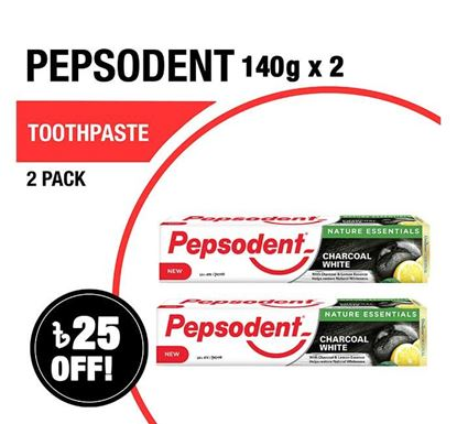 Pepsodent Toothpaste Charcoal White 140gX2 Multipack