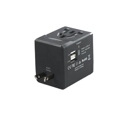 PROMATE UniPro.4 Multi-Regional Travel Adapter with Two USB Charging Ports