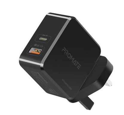 PROMATE PowerCube 36W Fast Charging Dual Port Wall Charger with Type-C™ Power