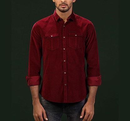All-Over Printed Classic Corduroy Shirt MRN RN-MEH-AW20-SM12
