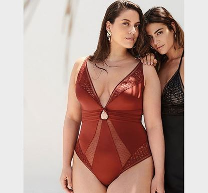Red Trimmed with Lace & Stunning Mesh Bodysuit SL-20730