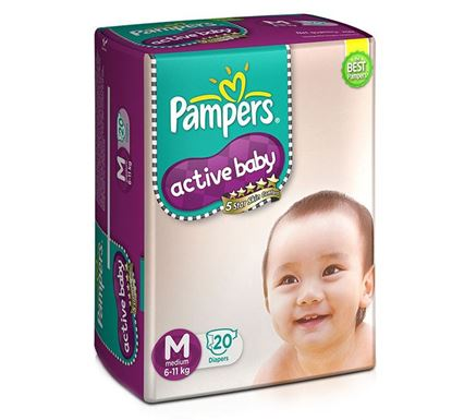 Pampers Active Baby Medium Tapes Diaper (20 Count) 6-11 KG - PM0105