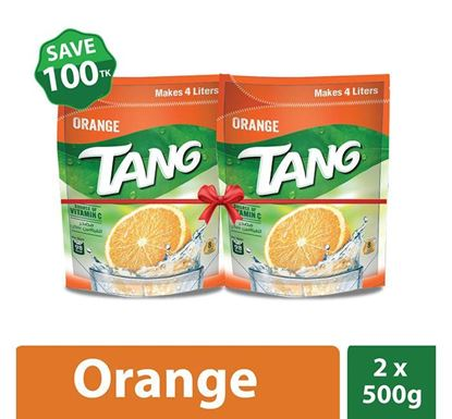 Tang Orange Flavoured Instant Drink Powder 500gm - 2 Pieces Combo