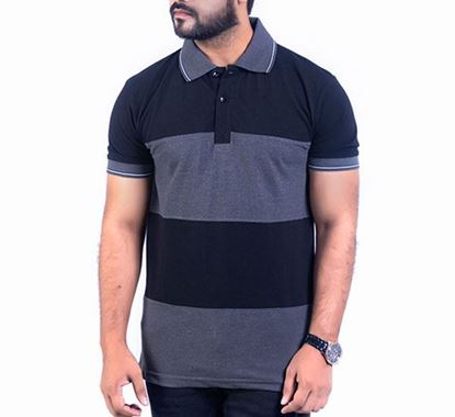 Half Sleeve Striped Polo T-shirt for Men - PS06