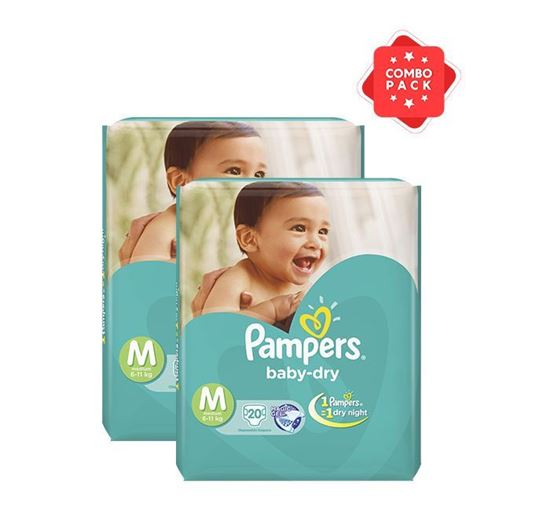 Pampers Tapes Medium 20s Diaper (Economy Pack) 6-11 KG - PM0110 (2 Pieces Combo)