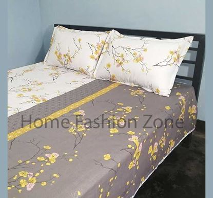 King Size Cotton Bed Sheet with Pillow Cover B-348
