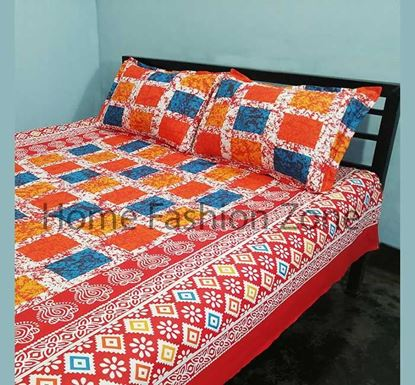 King Size Cotton Bed Sheet with Pillow Cover B-358