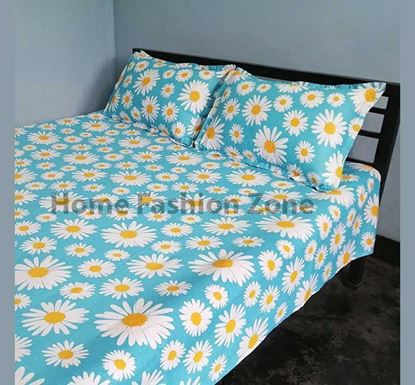 King Size Cotton Bed Sheet with Pillow Cover B-365