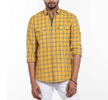 Slim Fit Cotton Check Shirt for Men YLLW RN-MEH-SS21-SM2110