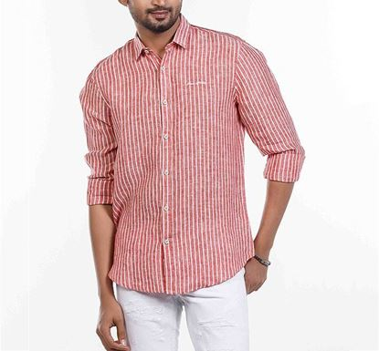 Slim Fit Cotton Striped Shirt for Men RD RN-FOY-SS21-SM2102