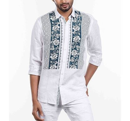 Slim Fit Floral Chest Printed Cotton Shirt for Men RN-MEH-SS21-SM2119