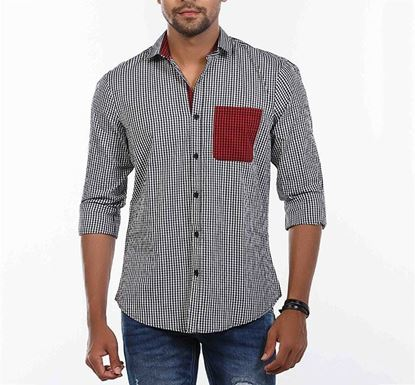 Slim Fit Cotton Check Shirt for Men BLK RN-MEH-SS21-SM2141
