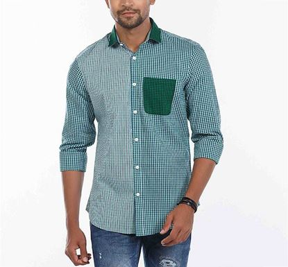 Slim Fit Cotton Check Shirt for Men GRN RN-MEH-SS21-SM2143