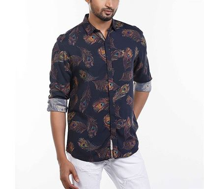 Slim Fit Cotton Peacock Feather Printed Shirt NVY RN-MEH-SS21-SM2126